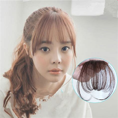 thin bangs hairpieces new fashion natural thin mini bang clip in on real remy