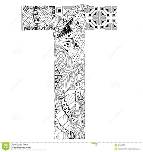coloring pages for adults letter t letter t for coloring vector decorative zentangle object