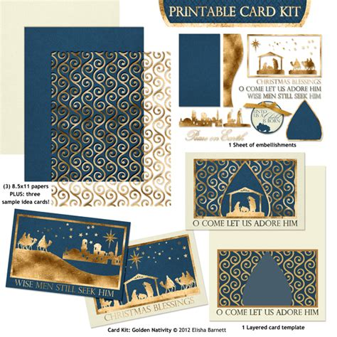Nativity Card Template Word by Printable Card Kit Golden Nativity