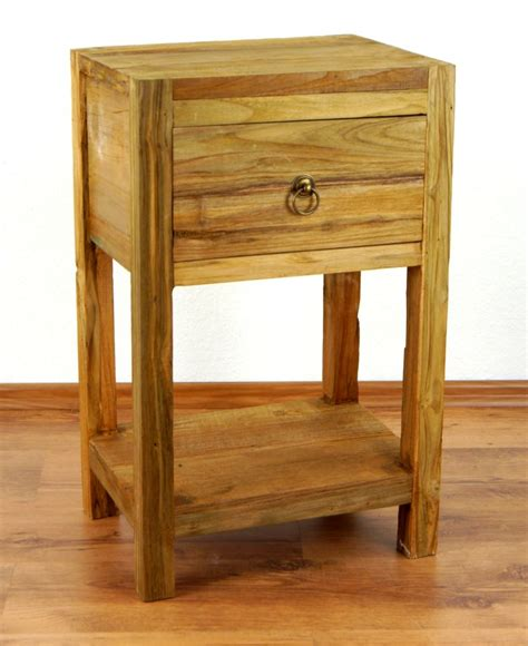 Handmade Bedside Tables - reclaimed teak wood bedside table rustic look drawer