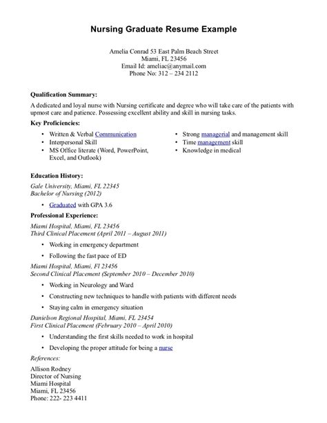 Sample Of Resume In Word Format by Nursing Graduate Resume Example Dedicated And Loyal Nurse