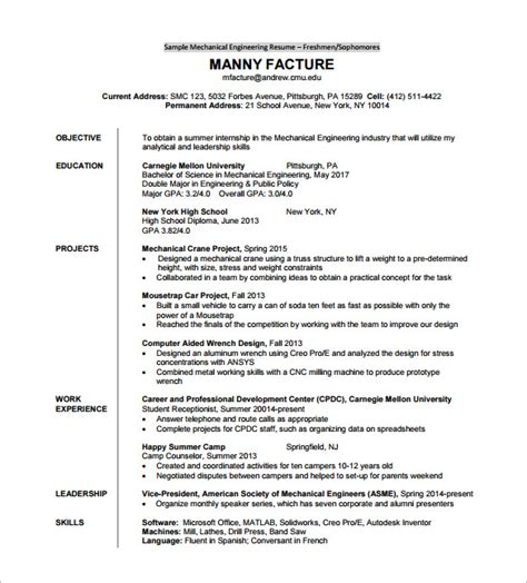 mechanical engineering resume format for experienced pdf resume template for fresher 10 free word excel pdf