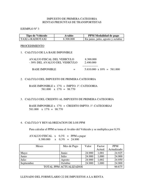 ejemplo de calculo de renta de quinta mayo 2016 renta presunta transportes taxi radio taxi