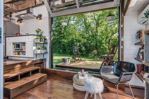 garage door tiny house tricked out tiny home features garage door and custom deck