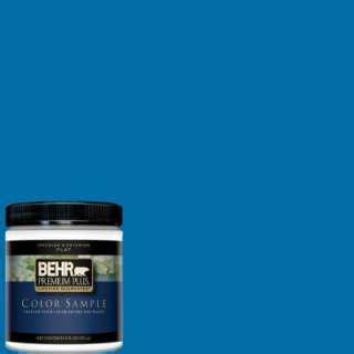 behr premium plus 8 oz neptune blue interior exterior paint tester