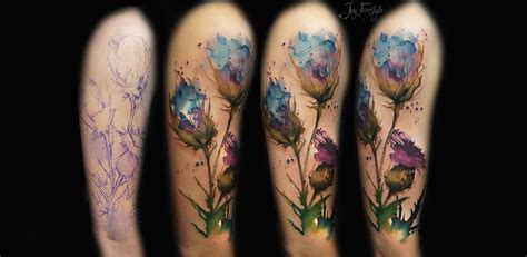 half sleeve watercolor tattoo of different flowers watercolor flowers design for half sleeve