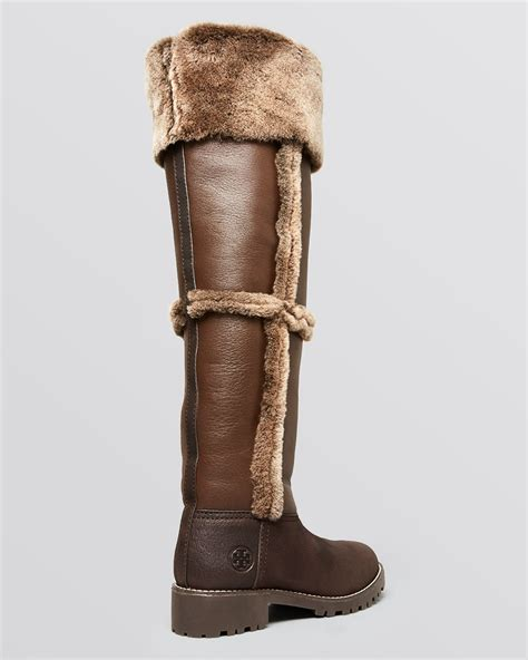 shearling boots lyst burch the knee shearling boots talouse shearling in brown