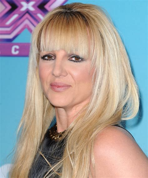 Britney Spears Long Straight Casual Hairstyle with Blunt