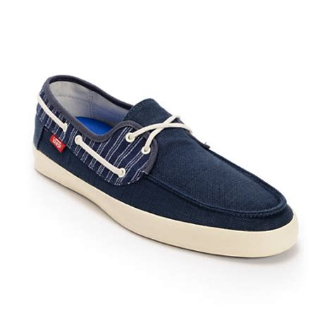 vans chauffeur navy blue antique white boat shoe at