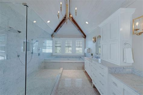 Bathroom Vaulted Ceiling Lights Master Bathroom Vaulted Plank Ceiling With Shower