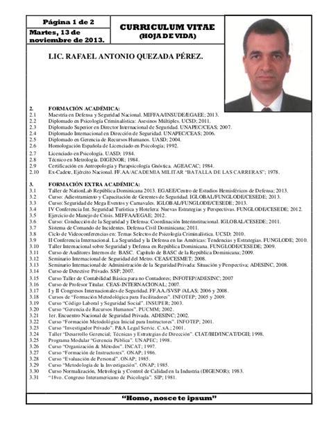 Ejemplo Curriculum Director Recursos Humanos Curriculum Vitae Lic Rafael Antonio Quezada Perez M A