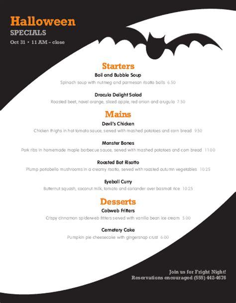 spooky halloween menu halloween menu