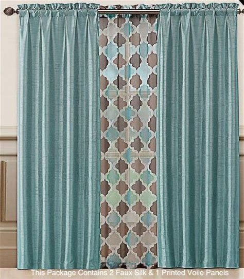 blue and brown window curtains asher blue set of three 2 faux silk panels and 1 printed