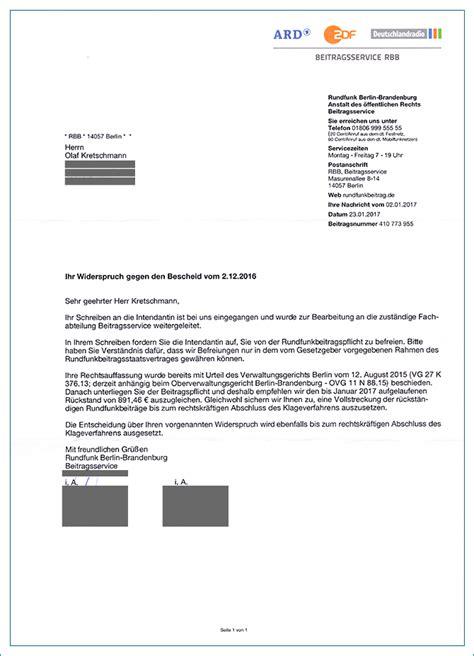 Musterbrief Widerspruch Gez Festsetzungsbescheid Olaf Kretschmann Vs Rundfunkbeitragspflicht Der Info Zum Gesamten Klageverfahren
