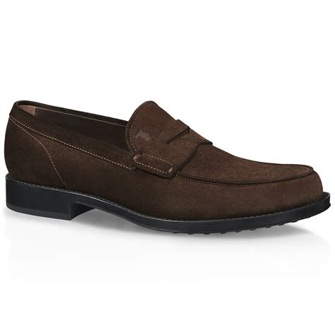 mens brown suede loafers tod s suede loafers in brown for lyst