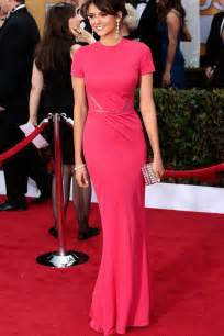 nina dobrev fuchsia pink floor length short sleeve slim