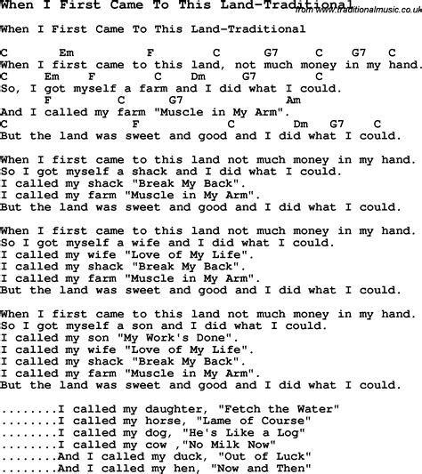 printable lyrics this land is your land summer c song when i first came to this land