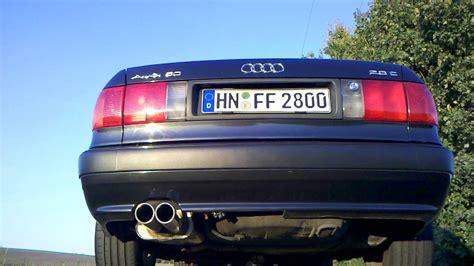 Audi 80 Sportauspuff by Audi 80 B4 V6 2 8e Fox Komplettanlage Ab Kat Youtube