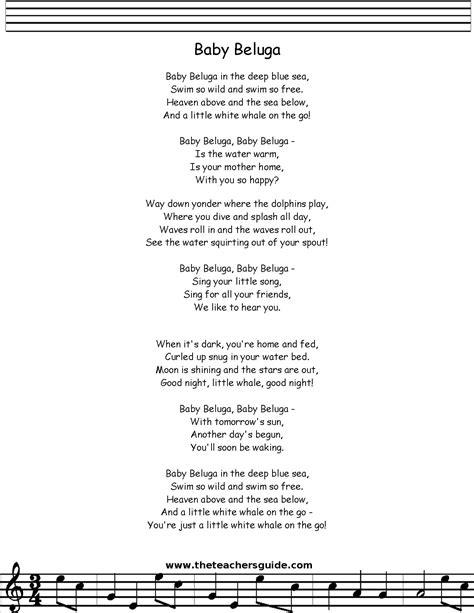 printable lyrics baby beluga baby beluga lyrics printout midi and video