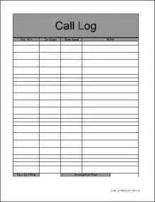 Call Log Sheet Template Free by Free Basic Call Log Form From Formville