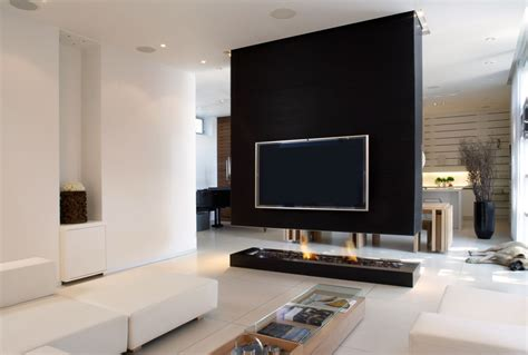 Living Room With Fireplace And Tv by Black Fireplace Ideas For Stylish And Warm Living Room