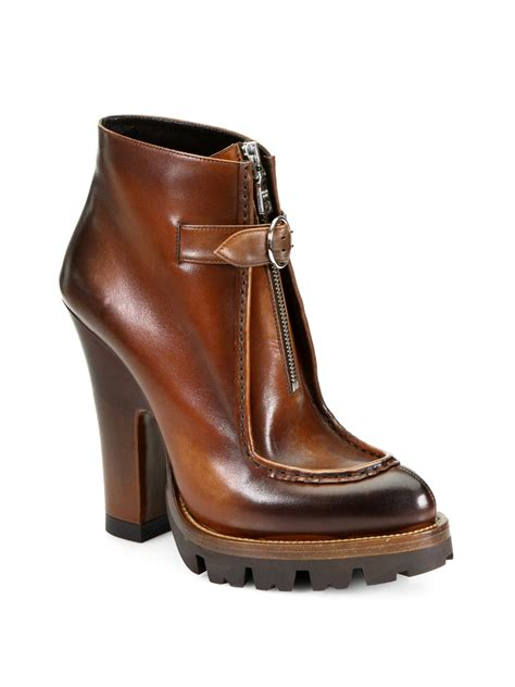 prada boots prada leather zipperdetail platform ankle boots in brown