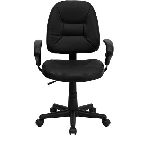 desk chair with adjustable arms ergonomic home mid back black leather ergonomic swivel