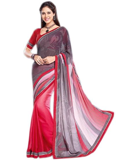 queen s queen s red semi chiffon saree buy queen s red semi