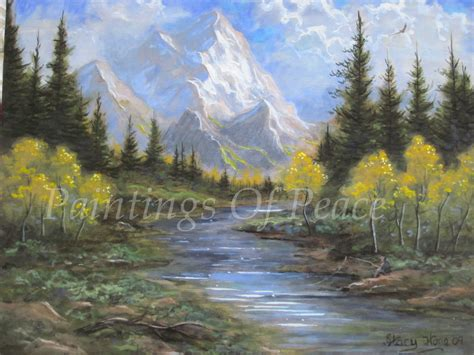 mountain landscape painting green trees river fishermen