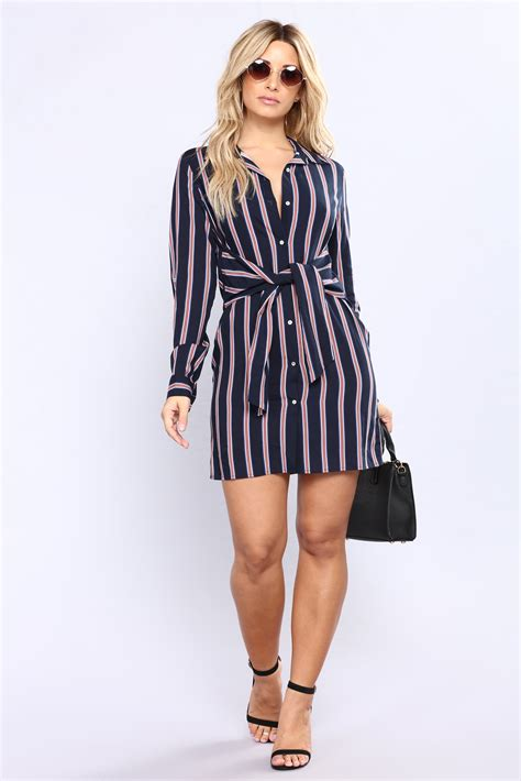 Striped Shirt Dress own amusement striped shirt dress navy stripe