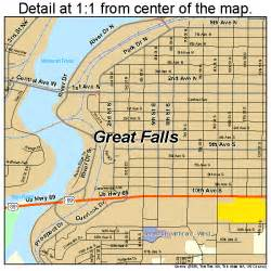 Great Falls Montana Map by Great Falls Montana Street Map 3032800