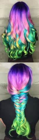 multi color hair ideas collage of multi colored hair in curls big braid