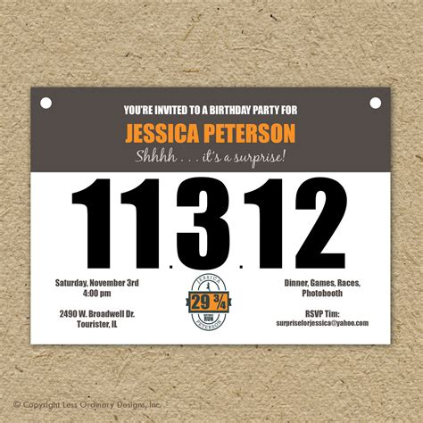 race bib template runner s bib birthday invitation marathon theme