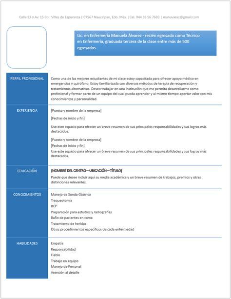 Modelo Curriculum Vitae De Enfermeria Curriculum Vitae De Enfermer 237 A Gt Ejemplos Y Formatos Mil Formatos