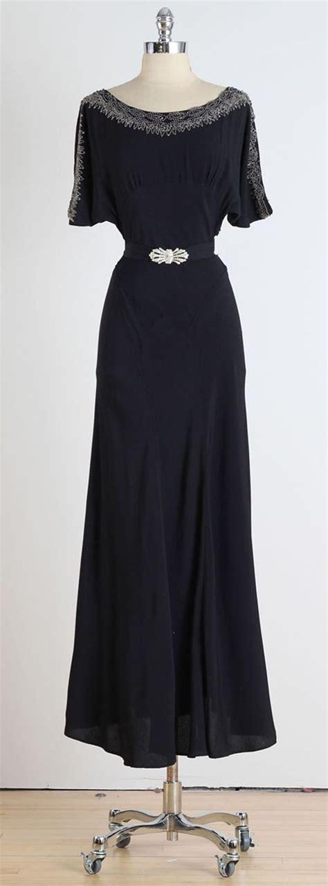 Maxi Catarina Crepe 2 1930s black crepe dress with deco belt maxi dresses crepes and belt