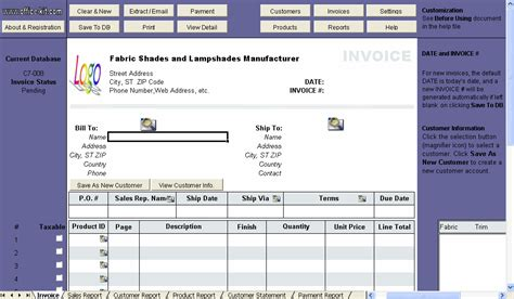 excel invoice template with database fabric shades and lshades manufacturer invoice template