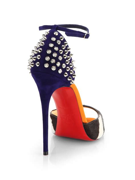 Christian Louboutin Hyde Park Sandals by Lyst Christian Louboutin Pina Spiked Calf Hair Suede