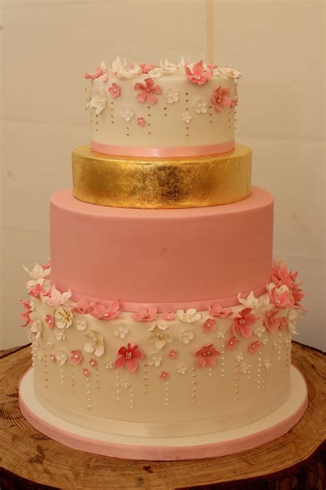 Wedding Cakes Designs 2015 by Pink Gold White Blossom Wedding Cake 11 April 2015