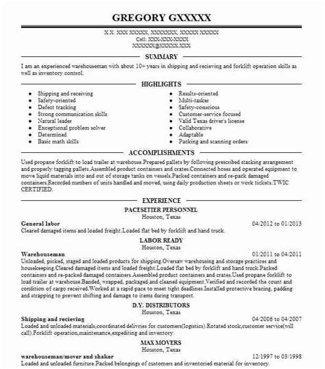 Resume Builder General Labor Best General Labor Resume Exle Livecareer