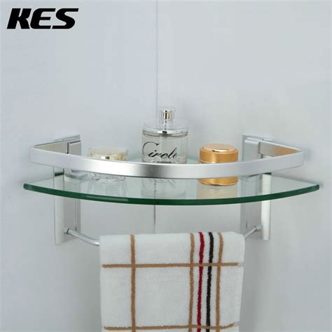 Glass Bathroom Shelves With Towel Bar Kes A4123a Aluminum Bathroom Glass Corner Shelf With Towel Bar Wall Mount Silver Sand Sprayed