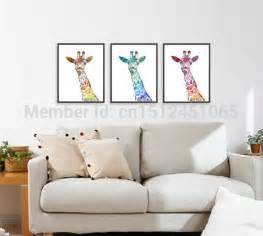 giraffe print home decor modern abstract watercolor giraffe print set wall