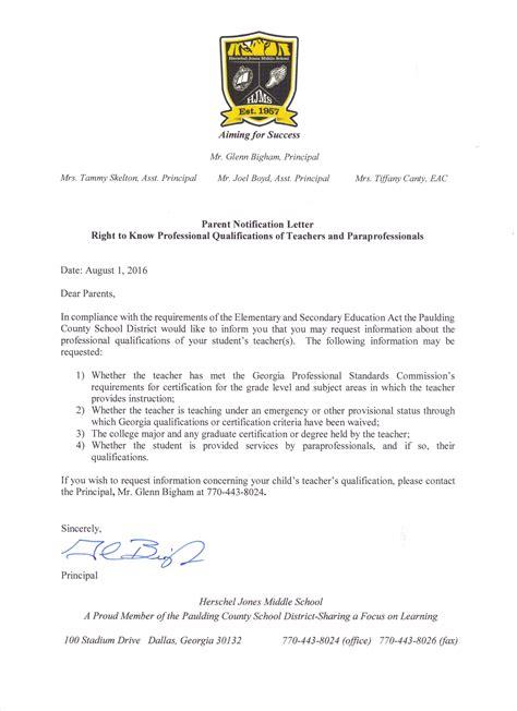 Parent Notification Letter Herschel Jones Middle School Homepage