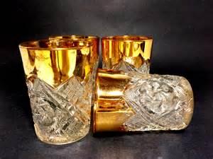 Cut Glass Barware Cut Glass Lowballs Gold Trim Cut Glass Barware Gold Gilt