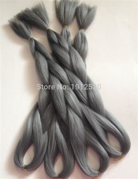 kanekolan hair black white grey x pression ultra braid hair 100g 24inch single tone