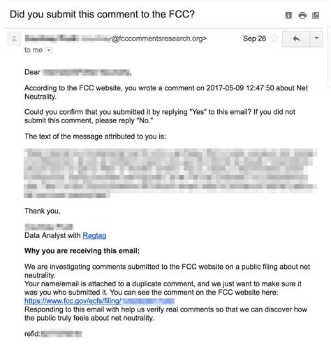 Bot Or Not Verifying Public Comments On Net Neutrality Net Neutrality Email Template