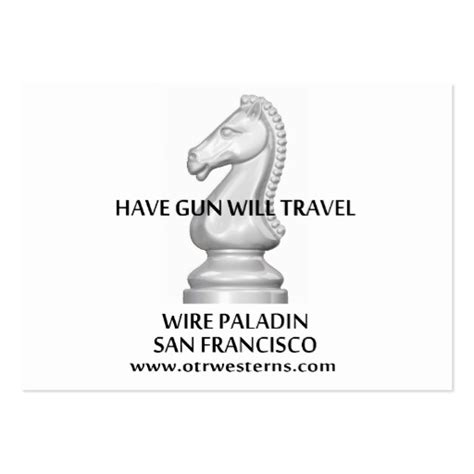 Gun Will Travel Business Card Template by Classic Hgwt Bc Large Business Cards Pack Of 100 Zazzle