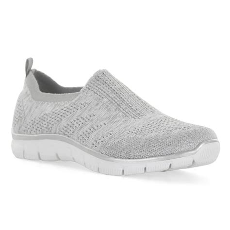 Skechers Empire Gliters skechers womens relaxed fit empire up trainers grey