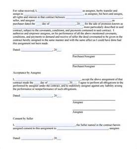 Assignment Of Lease Template by Sle Assignment Agreement 5 Documents In Pdf