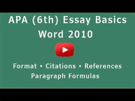 how to format apa style in word 2010 apa essay format 6th microsoft word 2010 youtube