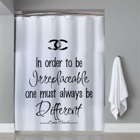 shower curtains with quotes choco chanel quote shower curtain bathroom decor pinterest